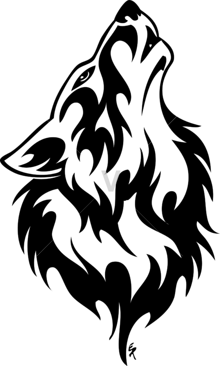 Wolf Line Drawing Tattoo : Tribal wolves howling memes
